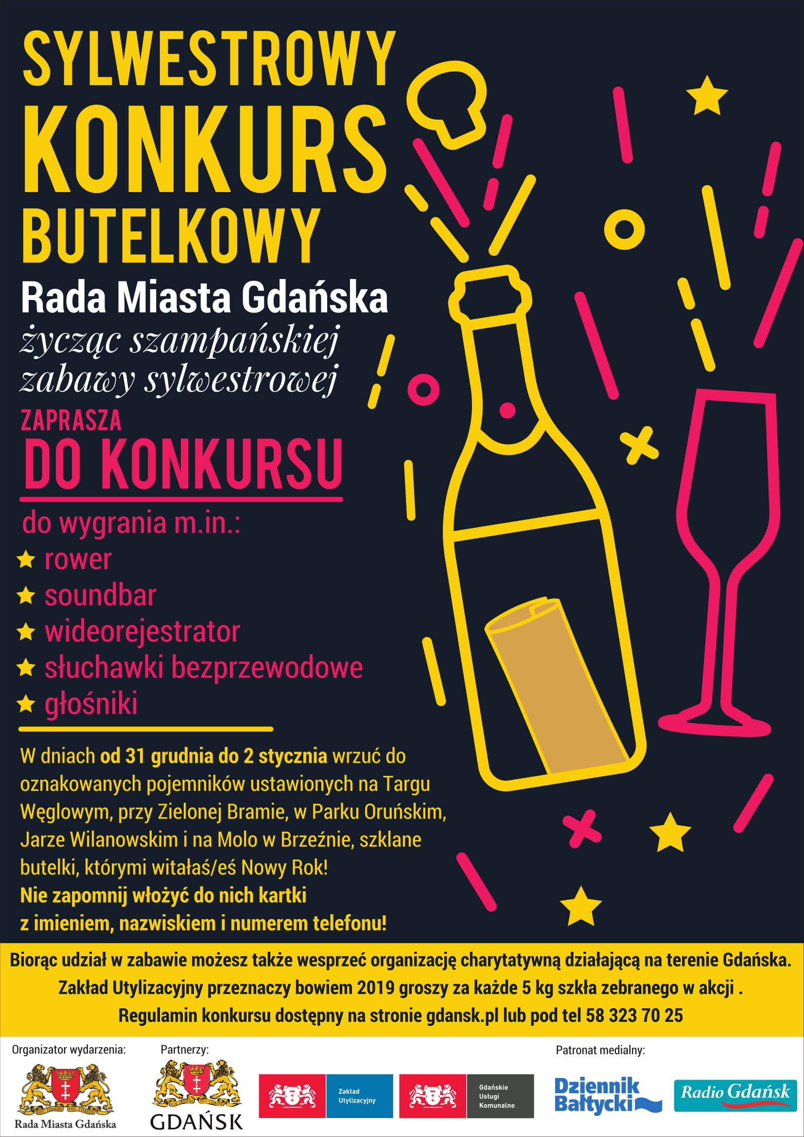 sylwestrowy konkurs butelkowy a3 plakat OK-1